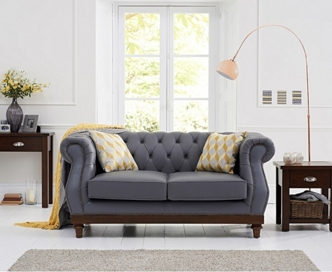 Highgrove Chesterfield Style Grey Leather 2 Seater Sofa