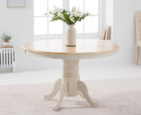 Elstree 120cm Fixed Top Oak and Cream Painted Dining Table