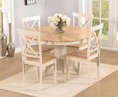 Elstree 120cm Fixed Top Oak and Cream Painted Dining Table With 4 Chairs