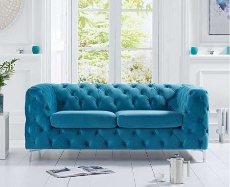 Alegra Teal Blue Plush 2 Seater Sofa