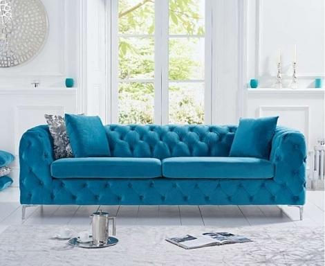 Alegra Teal Blue Plush 3 Seater Sofa