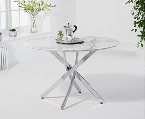 Clara Round 120cm White Marble Table