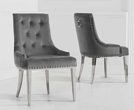 2x Antonia Grey Velvet Knocker Back Dining Chair With Metal Legs (pairs)