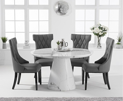 Ravelle Round White 130cm Marble Dining Table & Fredo Faux Leather Chairs