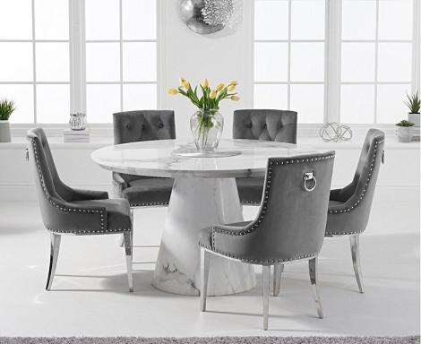 Ravelle Round White 130cm Marble Dining Table & Grey Velvet Knocker Back Chairs