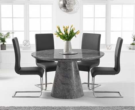 Ravelle Round Grey 130cm Marble Dining Table & Malibu Faux Leather Chairs