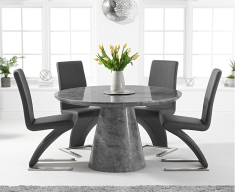 Ravelle Round Grey 130cm Marble Dining Table & Hereford Faux Leather Chairs