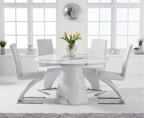 Ravelle Round White 130cm Marble Dining Table & Hereford Faux Leather Chairs