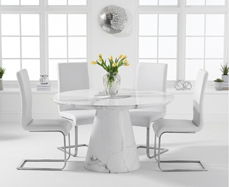 Ravelle Round White 130cm Marble Dining Table & Malibu Faux Leather Chairs