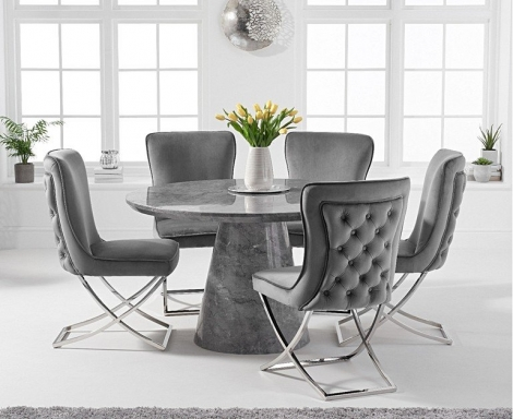 Ravelle Round Grey 130cm Marble Dining Table & Belgravia Button Back Chairs