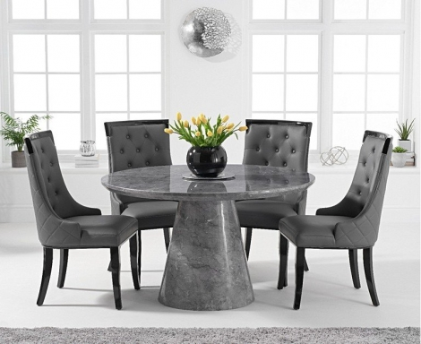 Ravelle Round Grey 130cm Marble Dining Table & Aviva Faux Leather Chairs