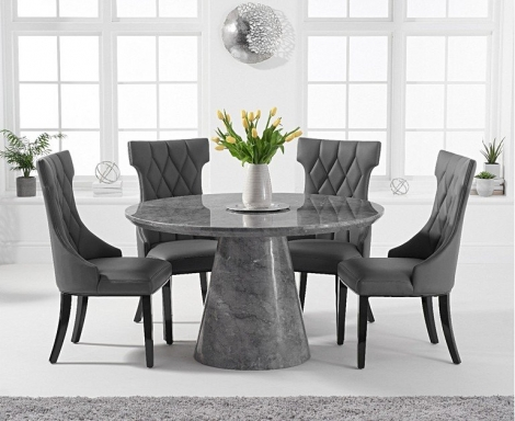 Ravelle Round Grey 130cm Marble Dining Table & Fredo Faux Leather Chairs
