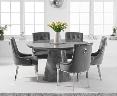 Ravelle Round Grey 130cm Marble Dining Table & Grey Velvet Knocker Back Chairs