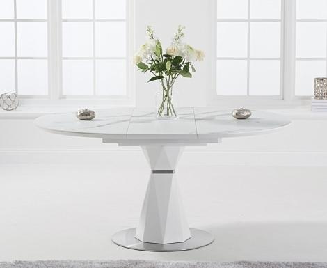 Jayden 120cm - 160cm Extending Round White Marble Effect Dining Table