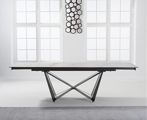Bellagio 180cm - 260cm Extending White Ceramic Dining Table Black Metal Under frame