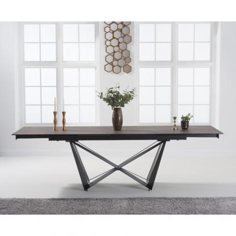 Bellagio 180cm - 260cm Extending Brown Ceramic Dining Table Black Metal Under frame