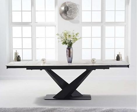 Jupiter 180cm - 260cm Extending White Ceramic Dining Table Black Metal Under frame