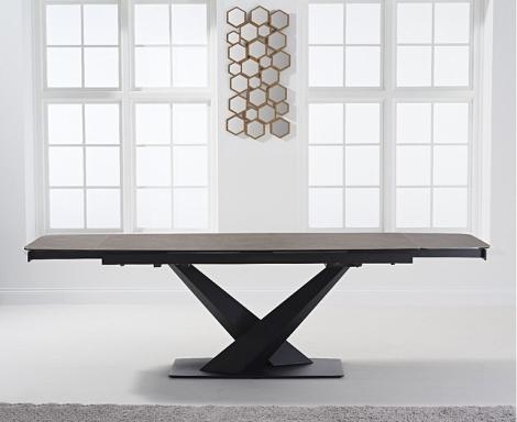 Jupiter 180cm - 260cm Extending Brown Ceramic Dining Table Black Metal Under frame