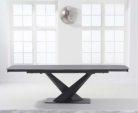 Jupiter 180cm - 260cm Extending Grey Stone Dining Table Black Metal Under frame