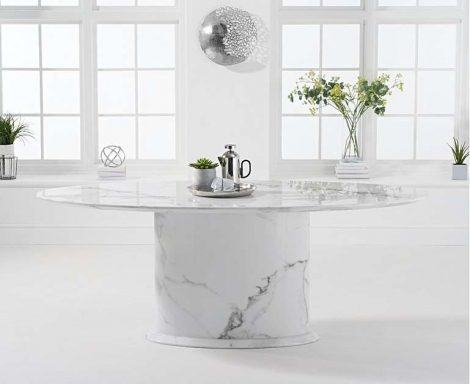 Cooper 200cm Oval White Marble Dining Table