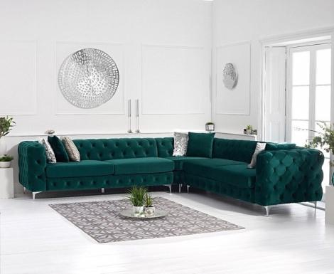 Bruni Green Velvet Corner Sofa