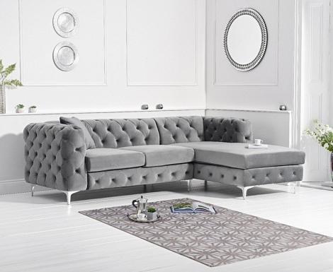 Bruni Grey Velvet Right Facing Chaise Sofa