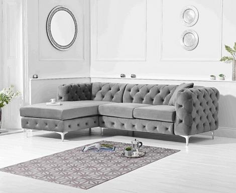 Bruni Grey Velvet Left Facing Chaise Sofa