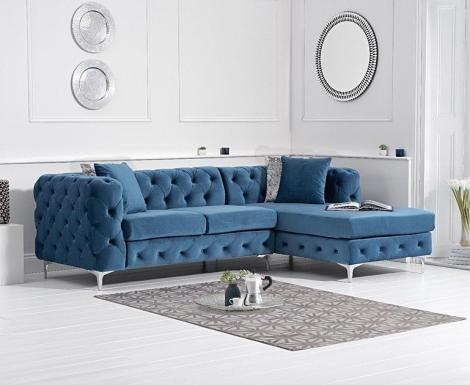 Bruni Blue Velvet Right Facing Chaise Sofa