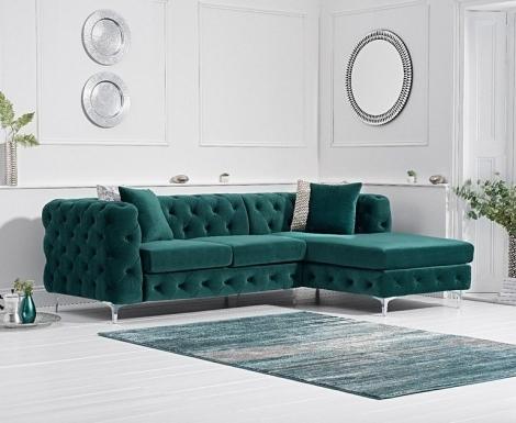 Bruni Green Velvet Right Facing Chaise Sofa