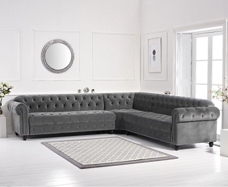 Barbican Grey Velvet Corner Sofa