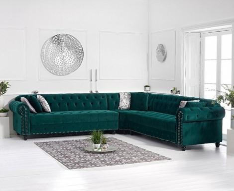 Barbican Green Velvet Corner Sofa
