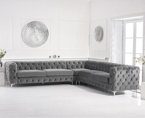 Bruni Grey Velvet Corner Sofa