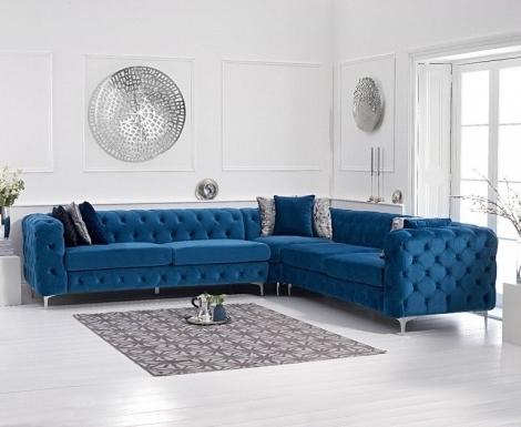 Bruni Blue Velvet Corner Sofa