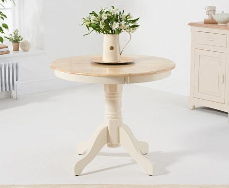 Elstree 90cm Oak and Cream Painted Dining Table