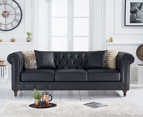 Milan Black Leather 3 Seater Chesterfield Sofa
