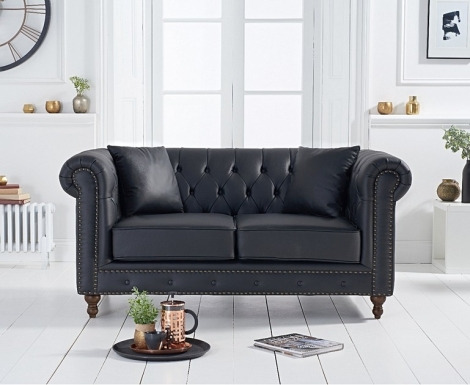 Milan Black Leather 2 Seater Chesterfield Sofa