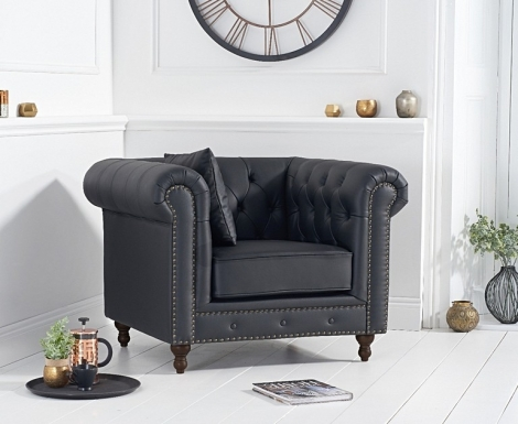 Milan Black Leather Chesterfield Armchair