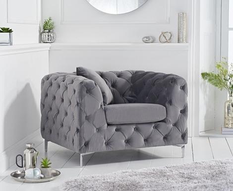 Alegra Grey Velvet Armchair