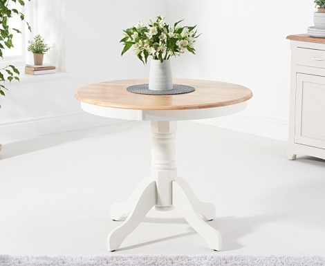 Elstree 90cm Oak and White Painted Dining Table
