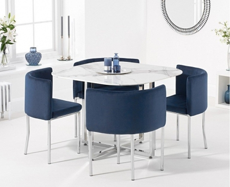Stowaway Marble & Chrome Dining Set with 4 Blue Velvet Chairs