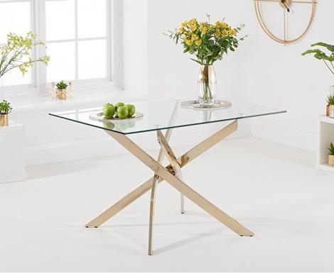Daytona Rectangular 120cm Glass Gold Leg Dining Table