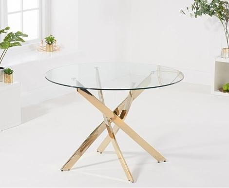 Daytona Round 110cm Glass Gold Leg Dining Table