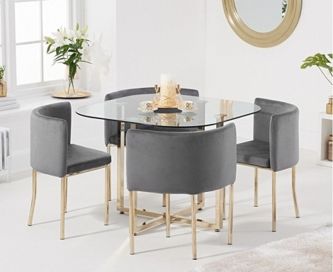 Stowaway Glass & Gold Dining Set with 4 Grey Velvet Chairs