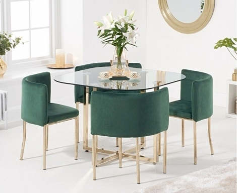Stowaway Glass & Gold Dining Set with 4 Green Velvet Chairs