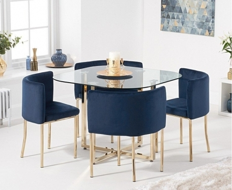 Stowaway Glass & Gold Dining Set with 4 Blue Velvet Chairs