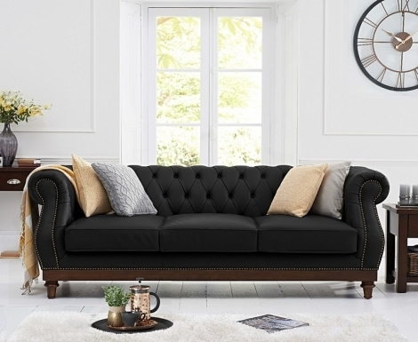 Highgrove Chesterfield Style Black Leather 3 Seater Sofa
