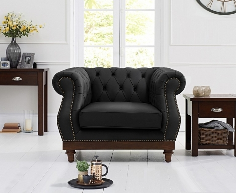 Highgrove Chesterfield Style Black Leather Armchair