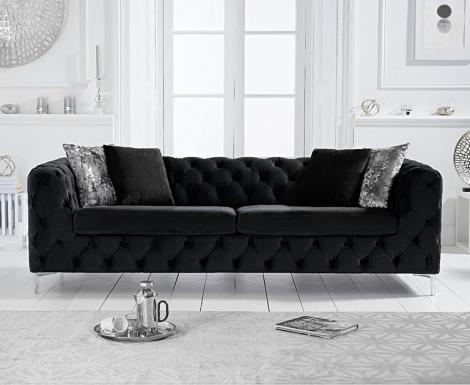 Alegra Black Velvet 3 Seater Sofa