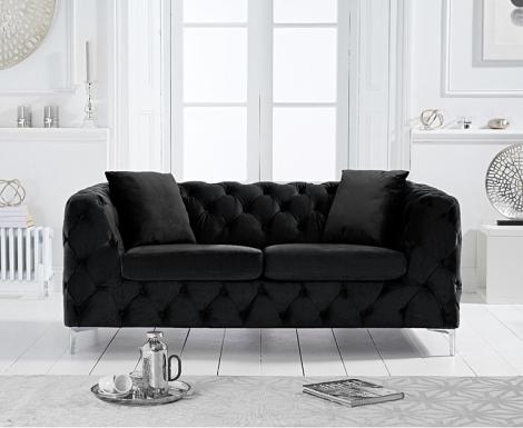 Alegra Black Velvet 2 Seater Sofa