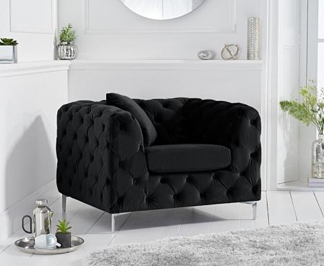 Alegra Black Velvet Armchair